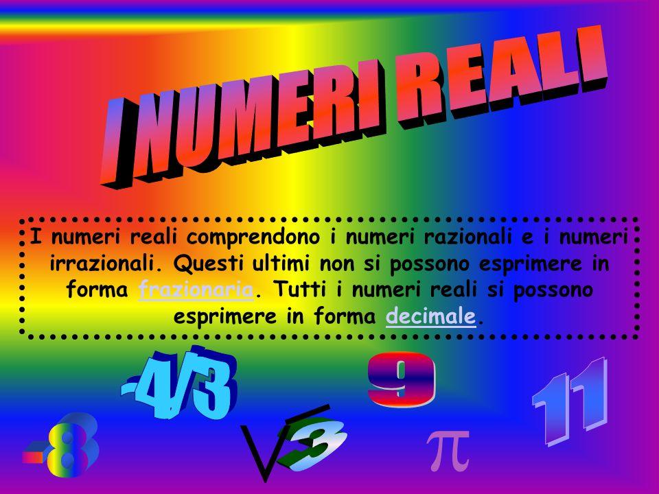 I numeri reali comprendono i numeri razionali e i numeri irrazionali. Questi ultimi non si possono esprimere in forma frazionaria. Tutti i numeri real