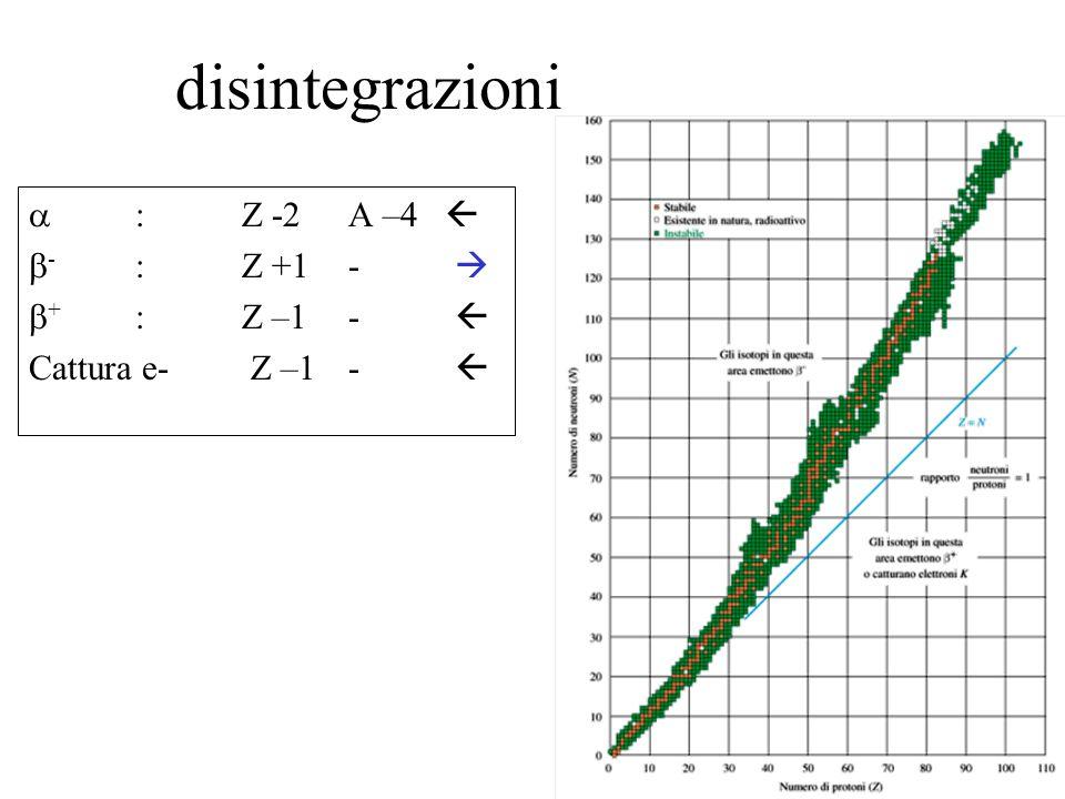 disintegrazioni : Z -2 A –4 - : Z +1- + :Z –1- Cattura e- Z –1-