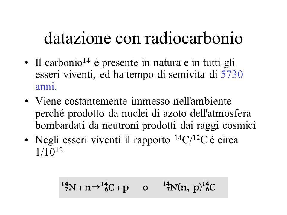 datazione con radiocarbonio Il carbonio 14 è presente in natura e in tutti gli esseri viventi, ed ha tempo di semivita di 5730 anni. Viene costantemen