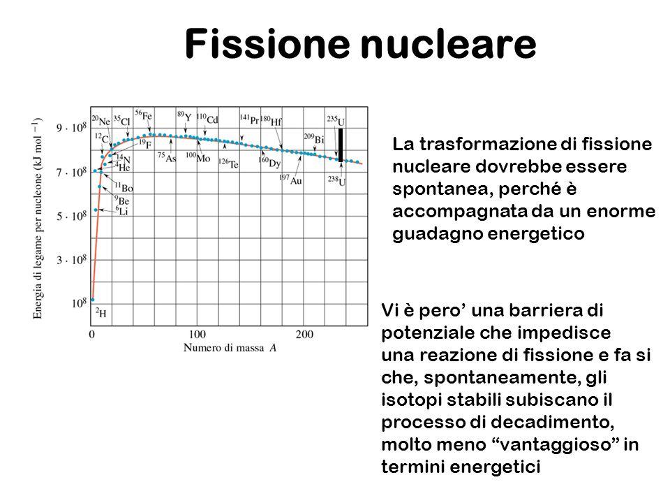 Fissione nucleare La trasformazione di fissione nucleare dovrebbe essere spontanea, perché è accompagnata da un enorme guadagno energetico Vi è pero u