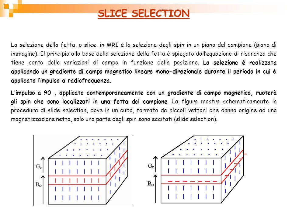 SLICE SELECTION La selezione della fetta, o slice, in MRI è la selezione degli spin in un piano del campione (piano di immagine). Il principio alla ba