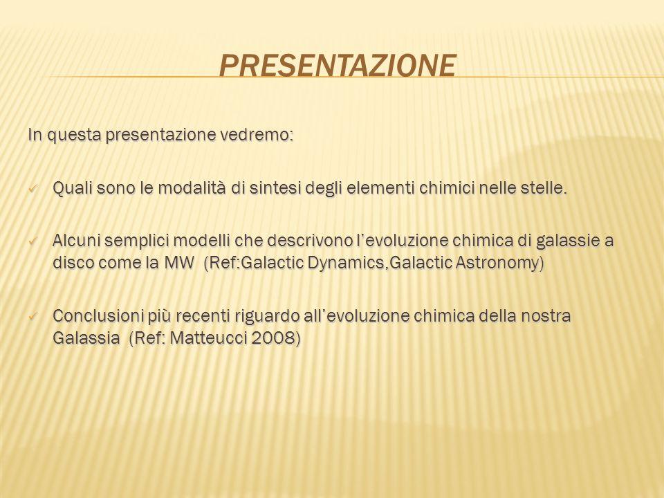 PRESENTAZIONE In questa presentazione vedremo: Quali sono le modalità di sintesi degli elementi chimici nelle stelle. Quali sono le modalità di sintes