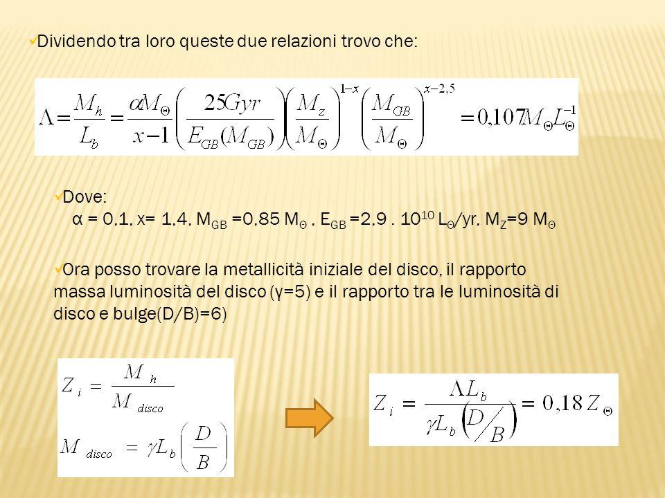 Dividendo tra loro queste due relazioni trovo che: Dove: α = 0,1, x= 1,4, M GB =0,85 M Θ, E GB =2,9. 10 10 L Θ /yr, M Z =9 M Θ Ora posso trovare la me