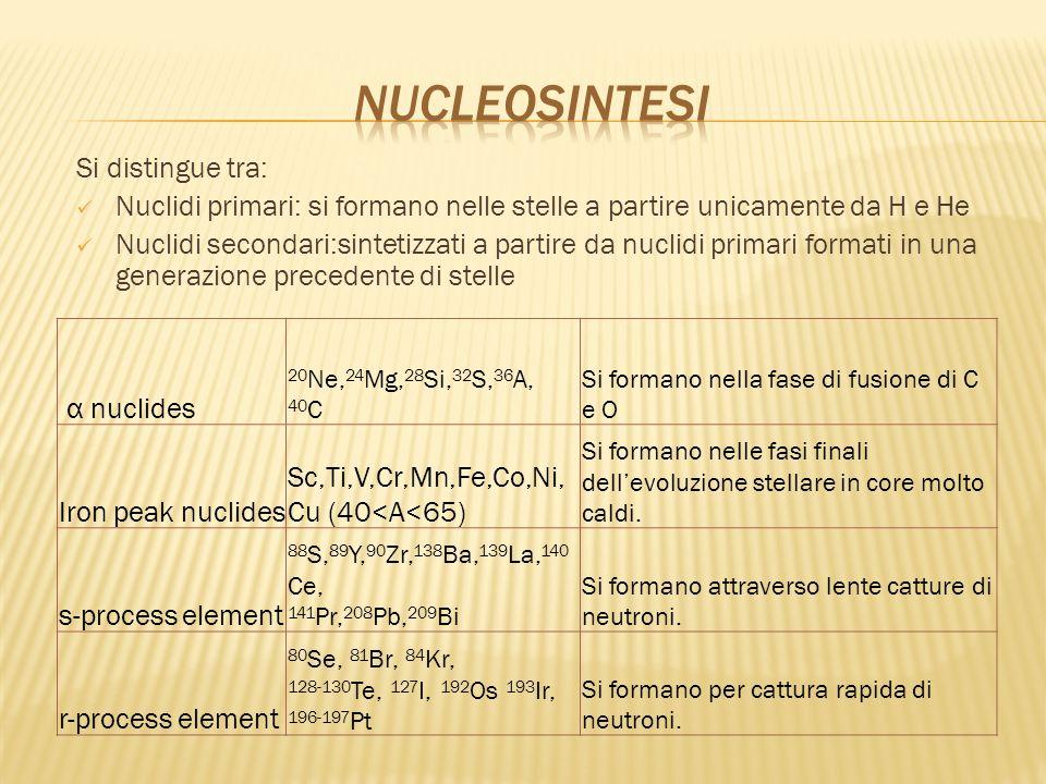 Si distingue tra: Nuclidi primari: si formano nelle stelle a partire unicamente da H e He Nuclidi secondari:sintetizzati a partire da nuclidi primari