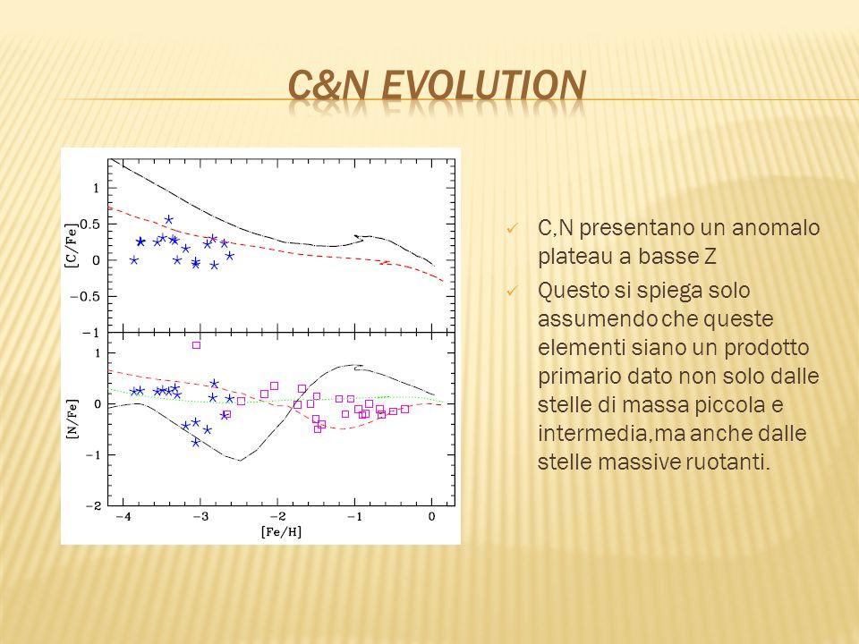 C,N presentano un anomalo plateau a basse Z Questo si spiega solo assumendo che queste elementi siano un prodotto primario dato non solo dalle stelle