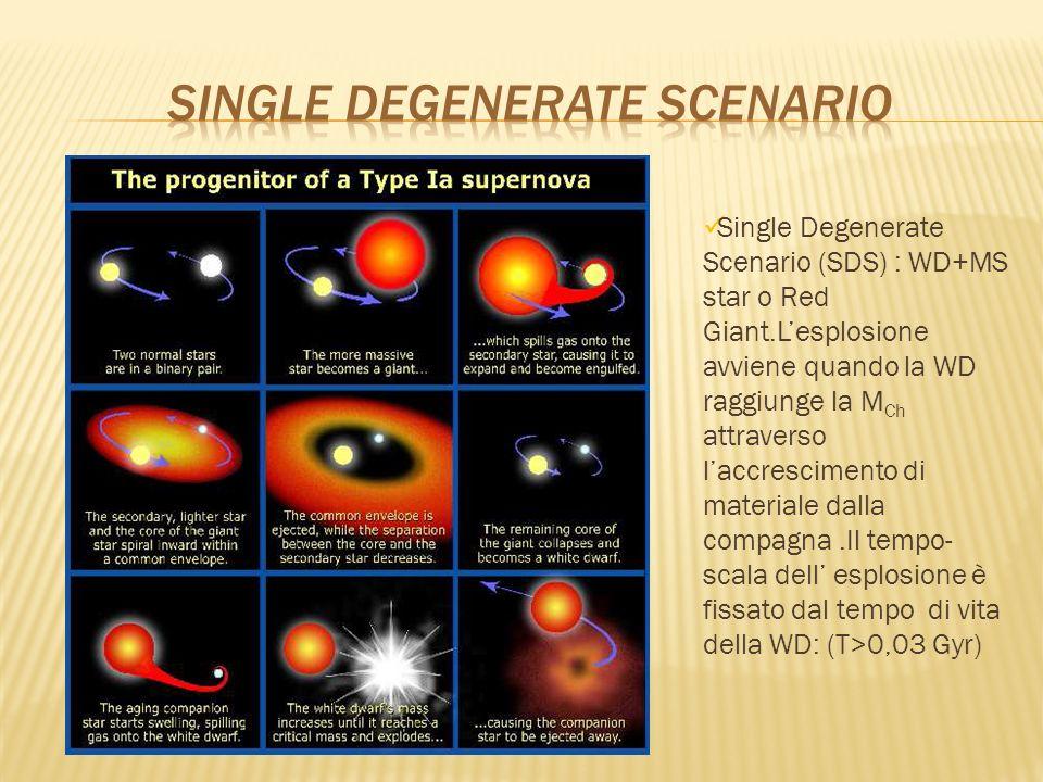 Double Degenerate Scenario (DDS) : merging di due CO-WD con masse dellordine di 0,7 M Θ,dovuto alla perdita di momento di angolare come conseguenza dellemissione di onde gravitazionali.Il tempo-scala dellesplosione è dato della stella secondaria più il tempo necessario per il merging (T>0,04 Gyr)