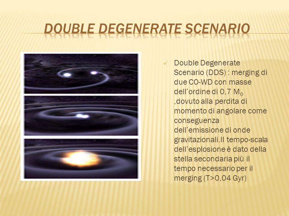 Double Degenerate Scenario (DDS) : merging di due CO-WD con masse dellordine di 0,7 M Θ,dovuto alla perdita di momento di angolare come conseguenza de
