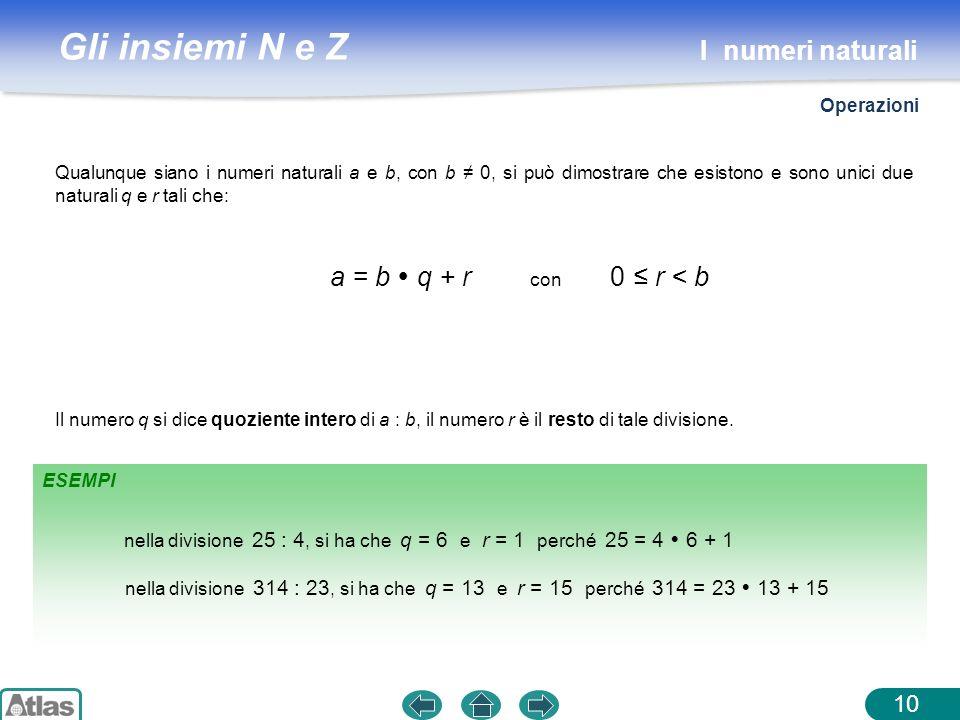 Gli insiemi N e Z ESEMPI 10 Il numero q si dice quoziente intero di a : b, il numero r è il resto di tale divisione. Qualunque siano i numeri naturali