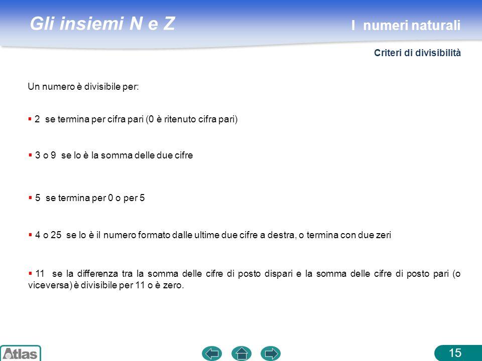Gli insiemi N e Z 15 Un numero è divisibile per: 2 se termina per cifra pari (0 è ritenuto cifra pari) 3 o 9 se lo è la somma delle due cifre 5 se ter