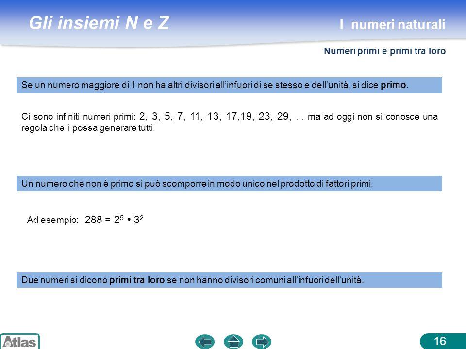 Gli insiemi N e Z 16 Ci sono infiniti numeri primi: 2, 3, 5, 7, 11, 13, 17,19, 23, 29, … ma ad oggi non si conosce una regola che li possa generare tu