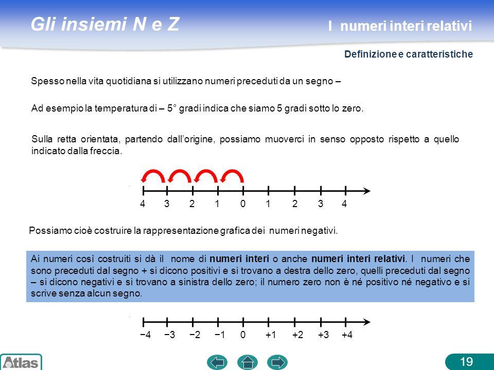 Gli insiemi N e Z Spesso nella vita quotidiana si utilizzano numeri preceduti da un segno – 19 Ad esempio la temperatura di – 5° gradi indica che siam