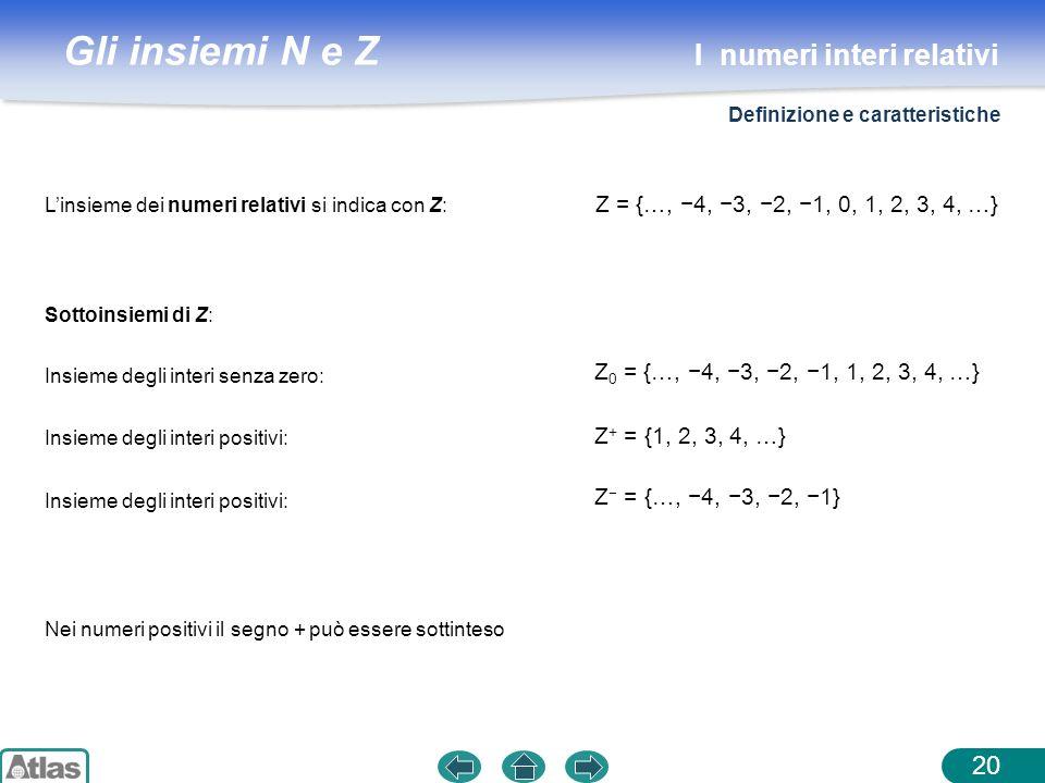 Gli insiemi N e Z 20 Nei numeri positivi il segno + può essere sottinteso Sottoinsiemi di Z: Linsieme dei numeri relativi si indica con Z: Z = {…, 4,