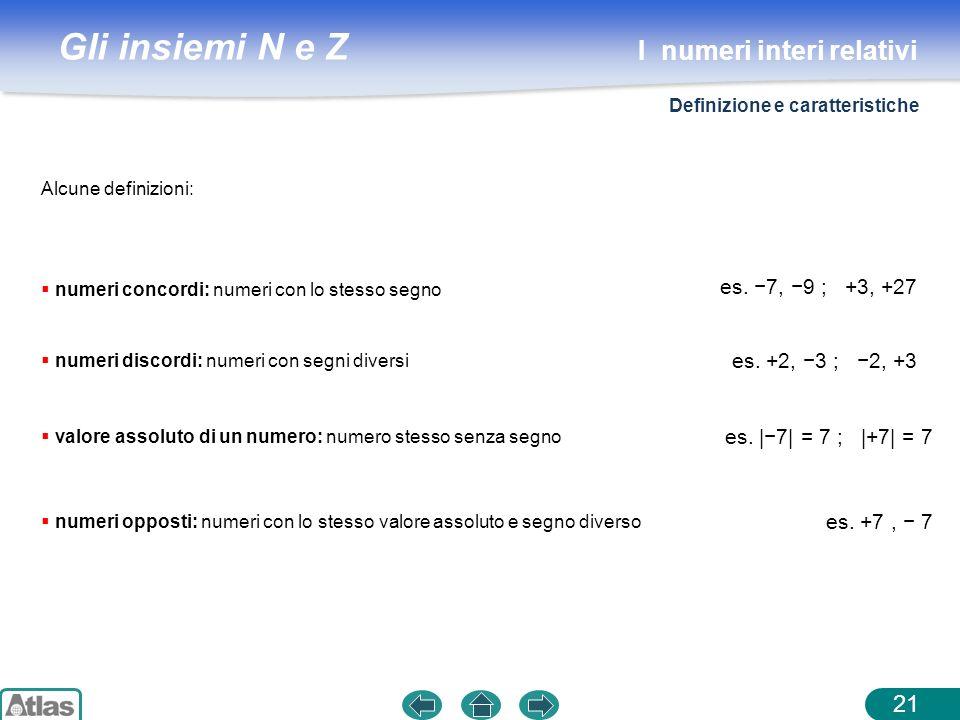 Gli insiemi N e Z Alcune definizioni: 21 numeri concordi: numeri con lo stesso segno es. 7, 9 ; +3, +27 numeri discordi: numeri con segni diversi es.