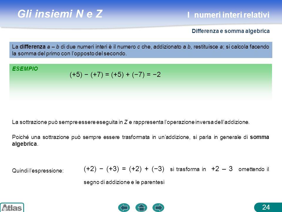Gli insiemi N e Z ESEMPIO La differenza a – b di due numeri interi è il numero c che, addizionato a b, restituisce a; si calcola facendo la somma del