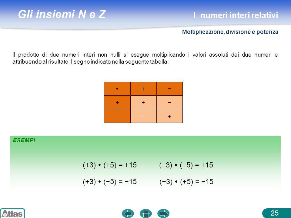 Gli insiemi N e Z ESEMPI Il prodotto di due numeri interi non nulli si esegue moltiplicando i valori assoluti dei due numeri e attribuendo al risultat