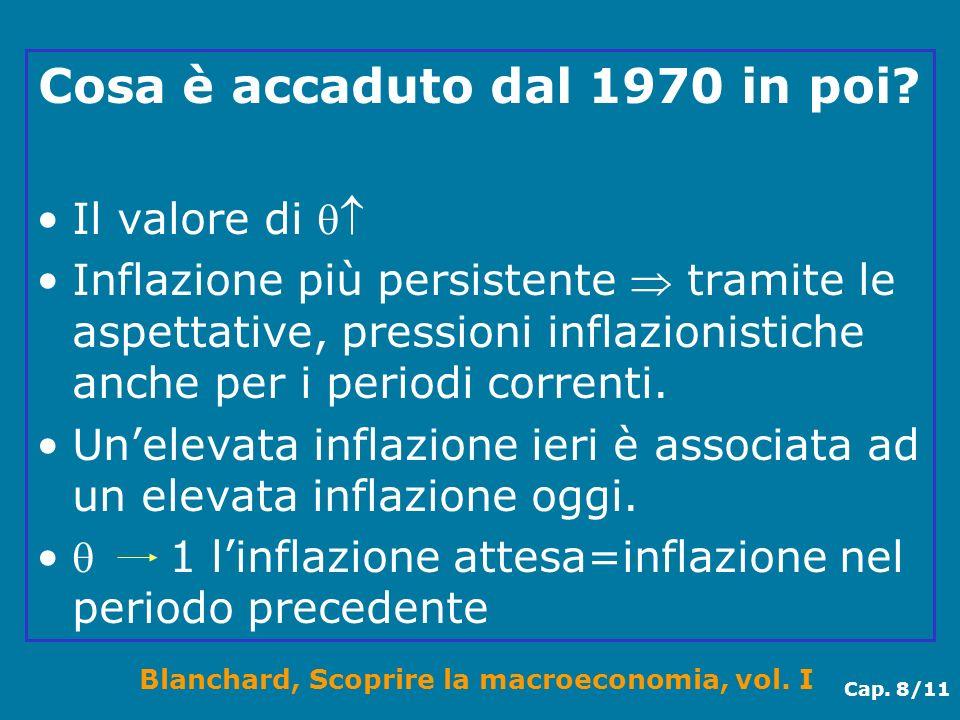 Blanchard, Scoprire la macroeconomia, vol. I Cap. 8/11 Cosa è accaduto dal 1970 in poi? Il valore di Inflazione più persistente tramite le aspettative