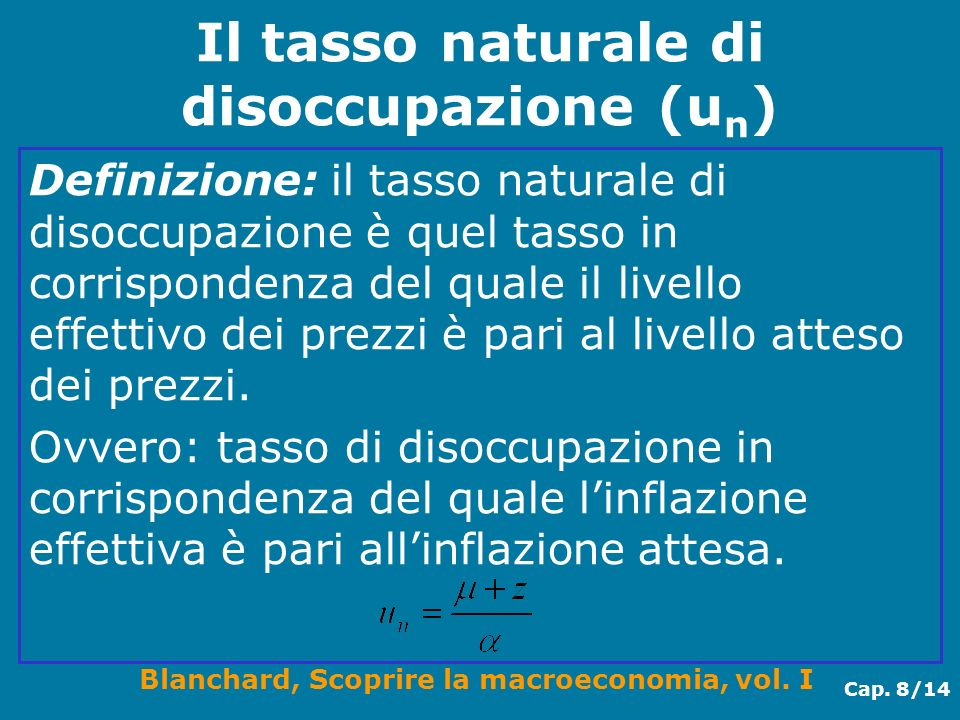 Blanchard, Scoprire la macroeconomia, vol. I Cap. 8/14 Il tasso naturale di disoccupazione (u n ) Definizione: il tasso naturale di disoccupazione è q