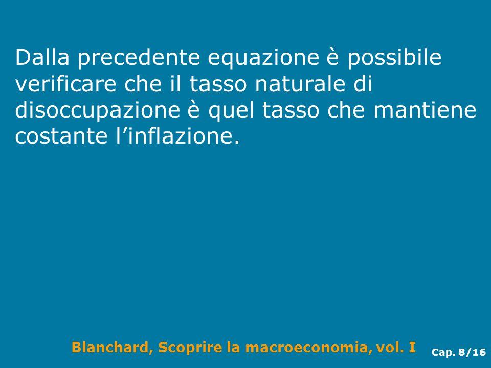 Blanchard, Scoprire la macroeconomia, vol. I Cap. 8/16 Dalla precedente equazione è possibile verificare che il tasso naturale di disoccupazione è que