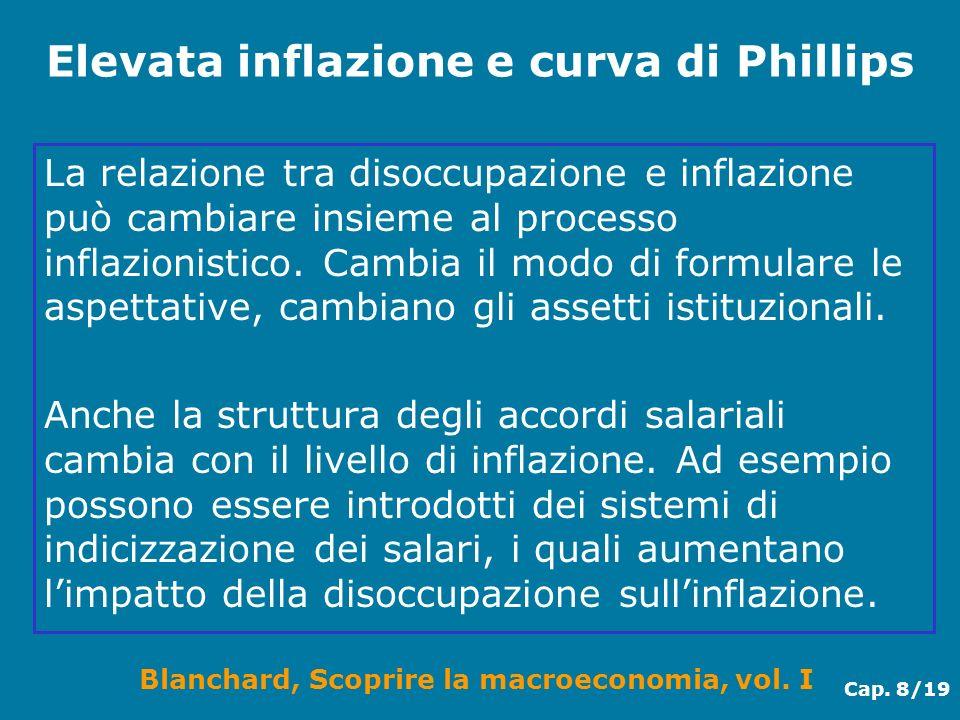 Blanchard, Scoprire la macroeconomia, vol. I Cap. 8/19 Elevata inflazione e curva di Phillips La relazione tra disoccupazione e inflazione può cambiar