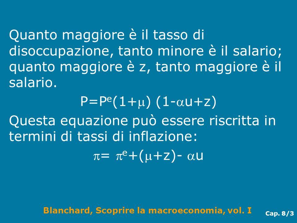 Blanchard, Scoprire la macroeconomia, vol. I Cap. 8/3 Quanto maggiore è il tasso di disoccupazione, tanto minore è il salario; quanto maggiore è z, ta