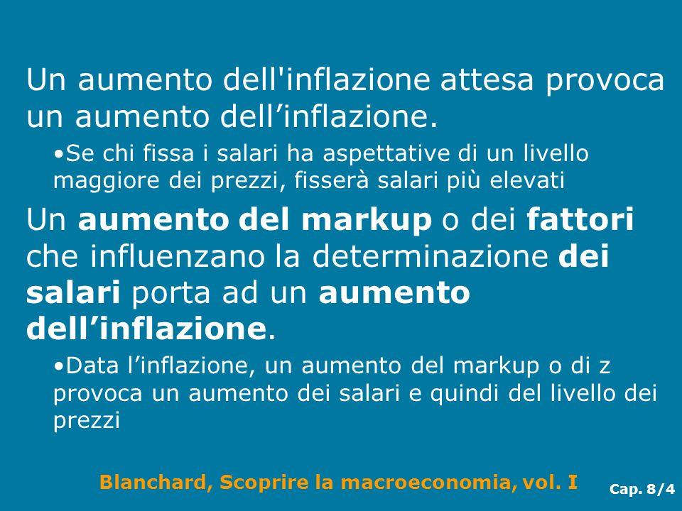 Blanchard, Scoprire la macroeconomia, vol. I Cap. 8/4 Un aumento dell'inflazione attesa provoca un aumento dellinflazione. Se chi fissa i salari ha as