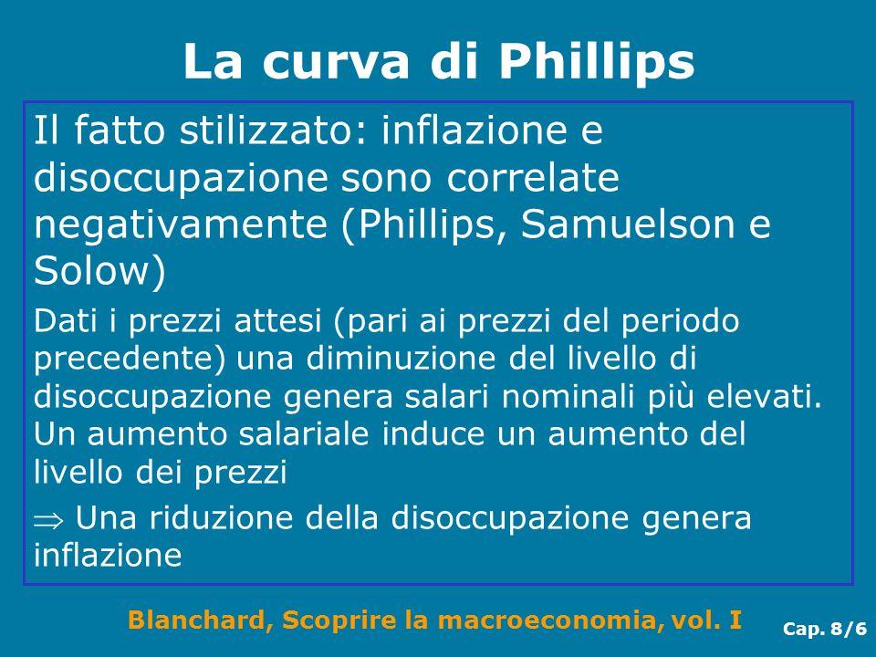 Blanchard, Scoprire la macroeconomia, vol. I Cap. 8/6 La curva di Phillips Il fatto stilizzato: inflazione e disoccupazione sono correlate negativamen