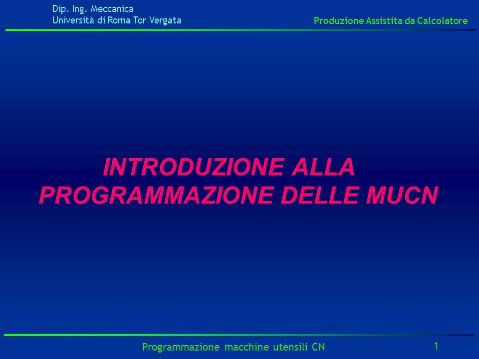 Dip. Ing. Meccanica Università di Roma Tor Vergata Produzione Assistita da Calcolatore 1 Programmazione macchine utensili CN INTRODUZIONE ALLA PROGRAM