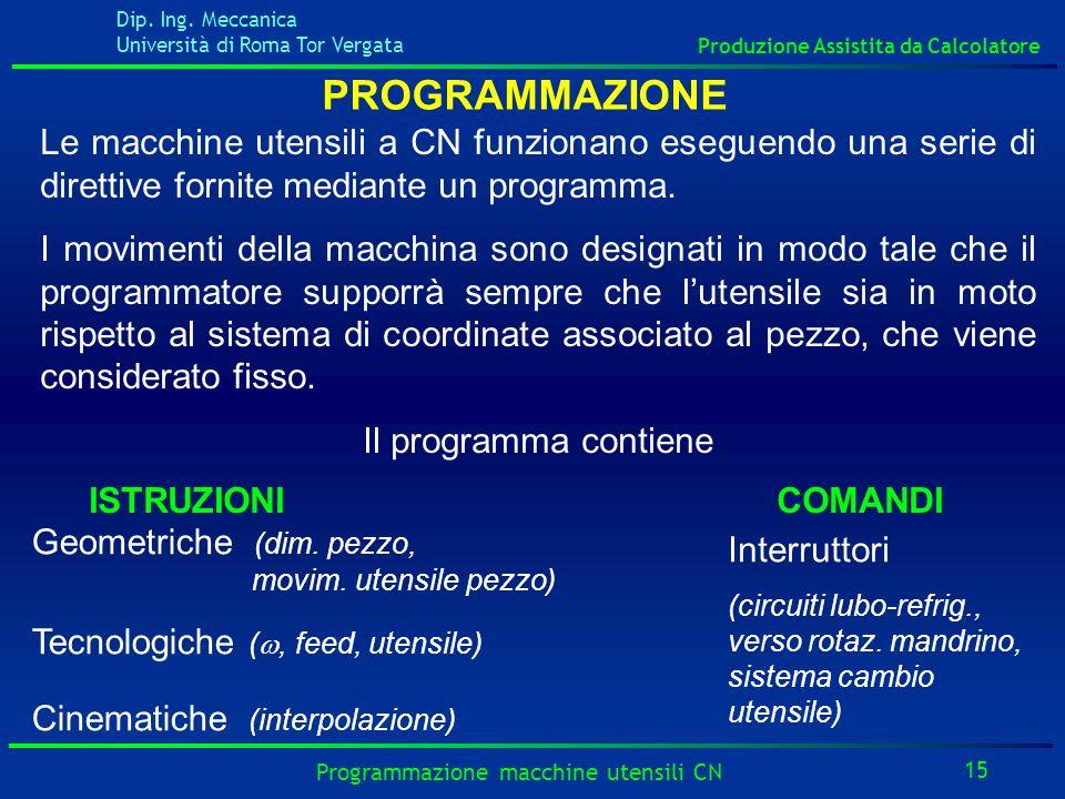 Dip. Ing. Meccanica Università di Roma Tor Vergata Produzione Assistita da Calcolatore 15 Programmazione macchine utensili CN PROGRAMMAZIONE Le macchi