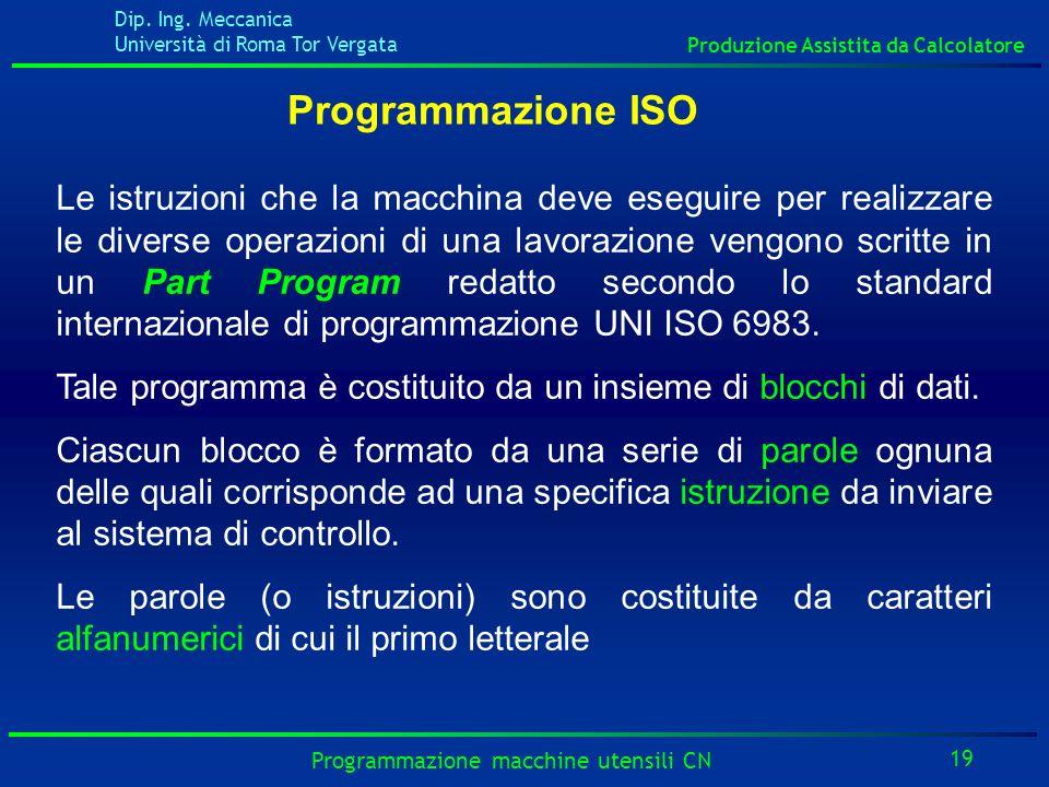 Dip. Ing. Meccanica Università di Roma Tor Vergata Produzione Assistita da Calcolatore 19 Programmazione macchine utensili CN Programmazione ISO Le is