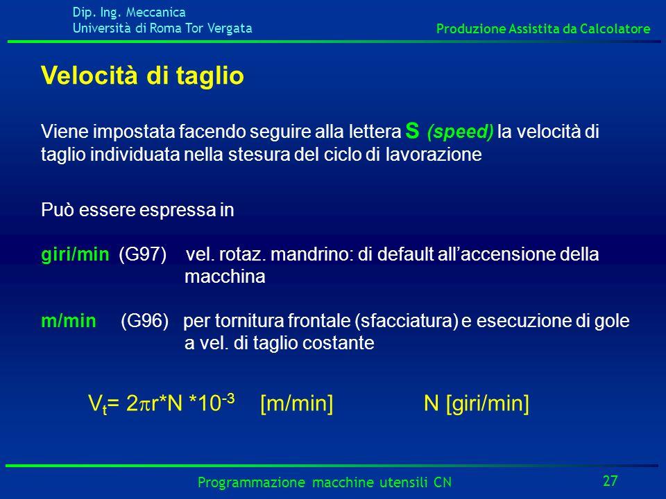Dip. Ing. Meccanica Università di Roma Tor Vergata Produzione Assistita da Calcolatore 27 Programmazione macchine utensili CN Velocità di taglio Viene