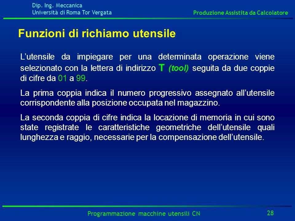 Dip. Ing. Meccanica Università di Roma Tor Vergata Produzione Assistita da Calcolatore 28 Programmazione macchine utensili CN Funzioni di richiamo ute