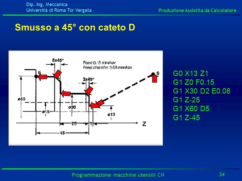 Dip. Ing. Meccanica Università di Roma Tor Vergata Produzione Assistita da Calcolatore 34 Programmazione macchine utensili CN G0 X13 Z1 G1 Z0 F0.15 G1