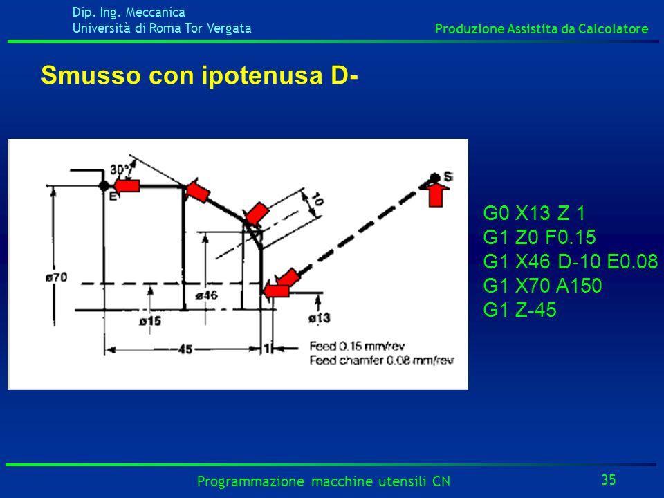 Dip. Ing. Meccanica Università di Roma Tor Vergata Produzione Assistita da Calcolatore 35 Programmazione macchine utensili CN G0 X13 Z 1 G1 Z0 F0.15 G