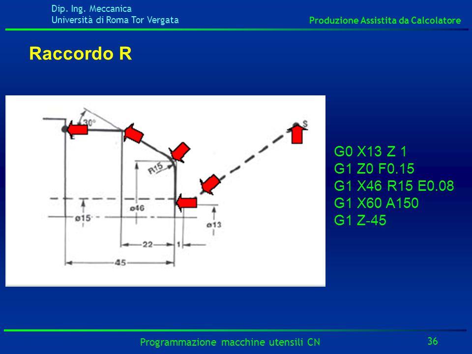 Dip. Ing. Meccanica Università di Roma Tor Vergata Produzione Assistita da Calcolatore 36 Programmazione macchine utensili CN Raccordo R G0 X13 Z 1 G1