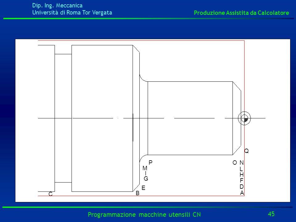 Dip. Ing. Meccanica Università di Roma Tor Vergata Produzione Assistita da Calcolatore 45 Programmazione macchine utensili CN B E I G PO Q M F D A H L