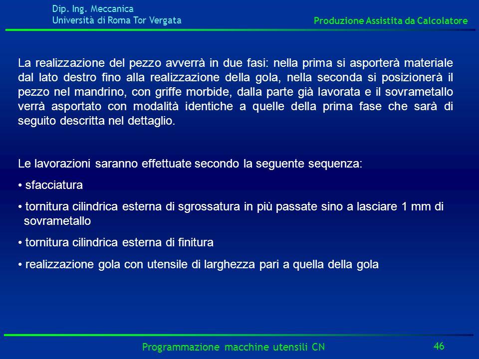 Dip. Ing. Meccanica Università di Roma Tor Vergata Produzione Assistita da Calcolatore 46 Programmazione macchine utensili CN La realizzazione del pez