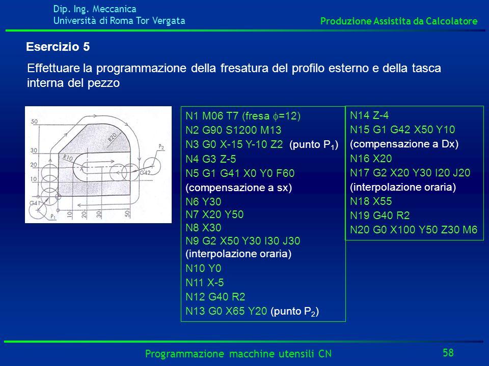 Dip. Ing. Meccanica Università di Roma Tor Vergata Produzione Assistita da Calcolatore 58 Programmazione macchine utensili CN Esercizio 5 Effettuare l
