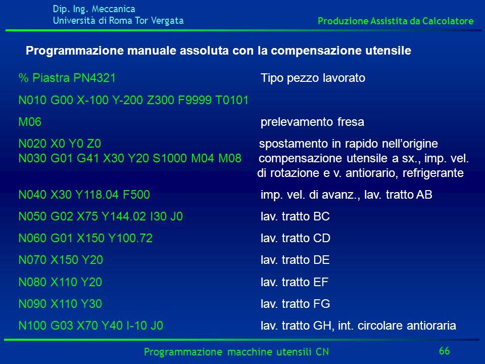 Dip. Ing. Meccanica Università di Roma Tor Vergata Produzione Assistita da Calcolatore 66 Programmazione macchine utensili CN Programmazione manuale a