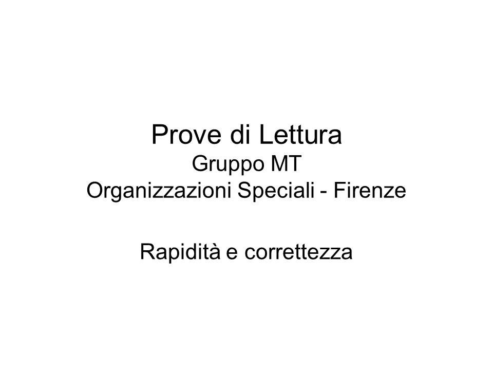 Prove di Lettura Gruppo MT Organizzazioni Speciali - Firenze Rapidità e correttezza
