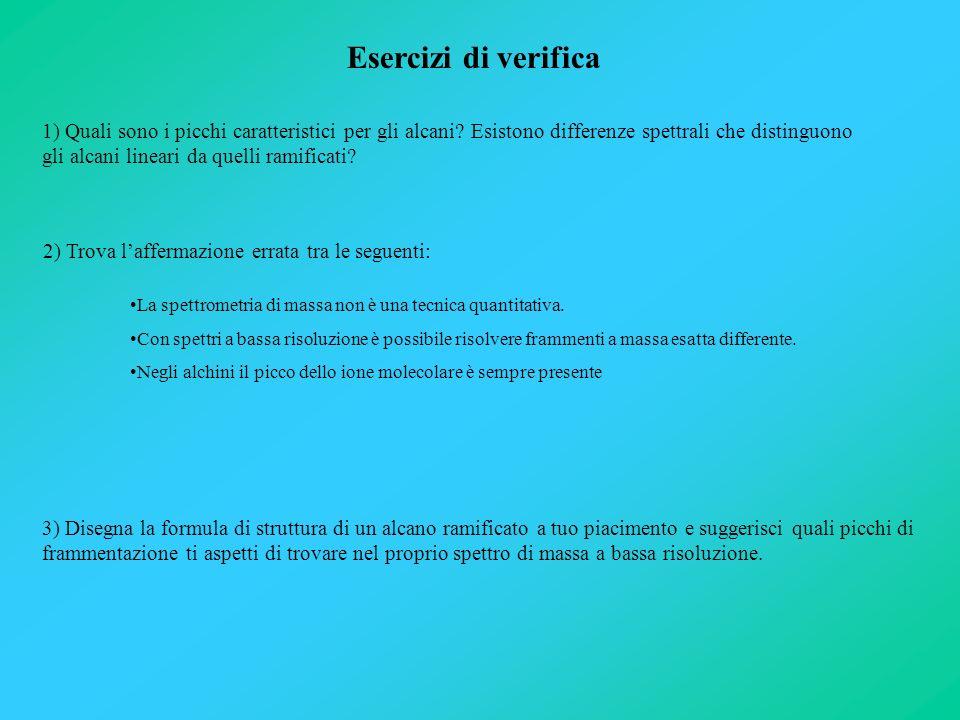 1) Quali sono i picchi caratteristici per gli alcani? Esistono differenze spettrali che distinguono gli alcani lineari da quelli ramificati? Esercizi