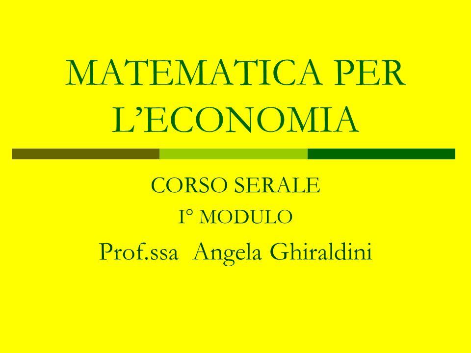 MATEMATICA PER LECONOMIA CORSO SERALE I° MODULO Prof.ssa Angela Ghiraldini