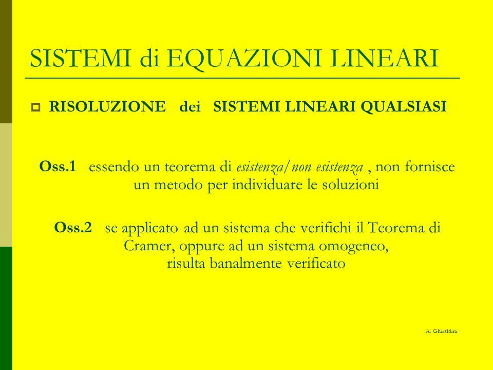 SISTEMI di EQUAZIONI LINEARI RISOLUZIONE dei SISTEMI LINEARI QUALSIASI Oss.1 essendo un teorema di esistenza/non esistenza, non fornisce un metodo per