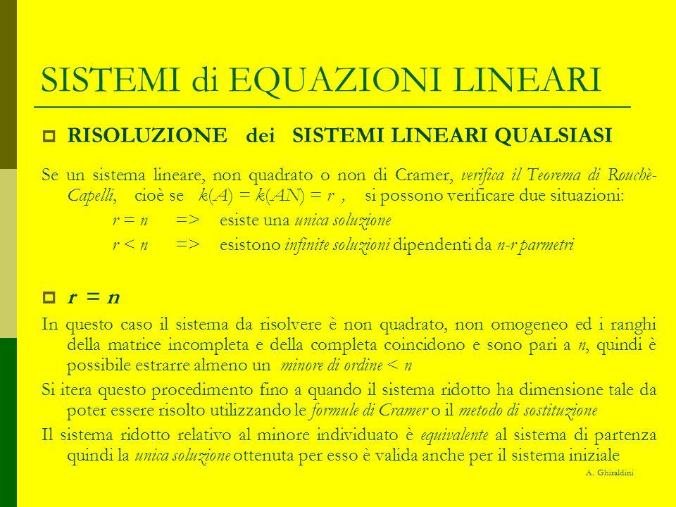 SISTEMI di EQUAZIONI LINEARI RISOLUZIONE dei SISTEMI LINEARI QUALSIASI Se un sistema lineare, non quadrato o non di Cramer, verifica il Teorema di Rou