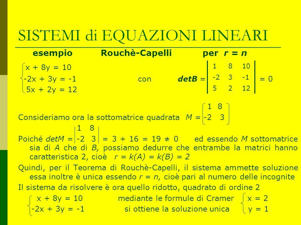 SISTEMI di EQUAZIONI LINEARI esempio Rouchè-Capelli per r = n x + 8y = 10 -2x + 3y = -1 con detB = = 0 5x + 2y = 12 1 8 Consideriamo ora la sottomatri