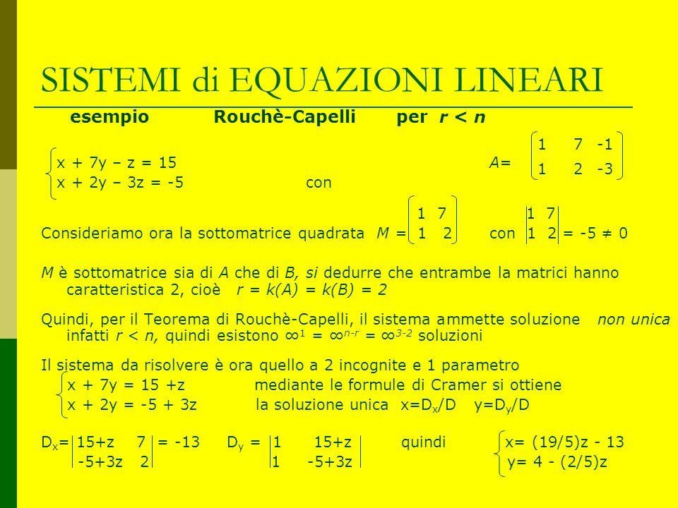 SISTEMI di EQUAZIONI LINEARI esempio Rouchè-Capelli per r < n x + 7y – z = 15 A= x + 2y – 3z = -5 con 1 7 1 7 Consideriamo ora la sottomatrice quadrat