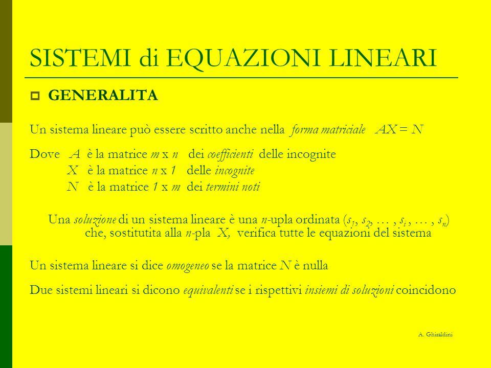 SISTEMI di EQUAZIONI LINEARI GENERALITA Un sistema lineare può essere scritto anche nella forma matriciale AX = N Dove A è la matrice m x n dei coeffi