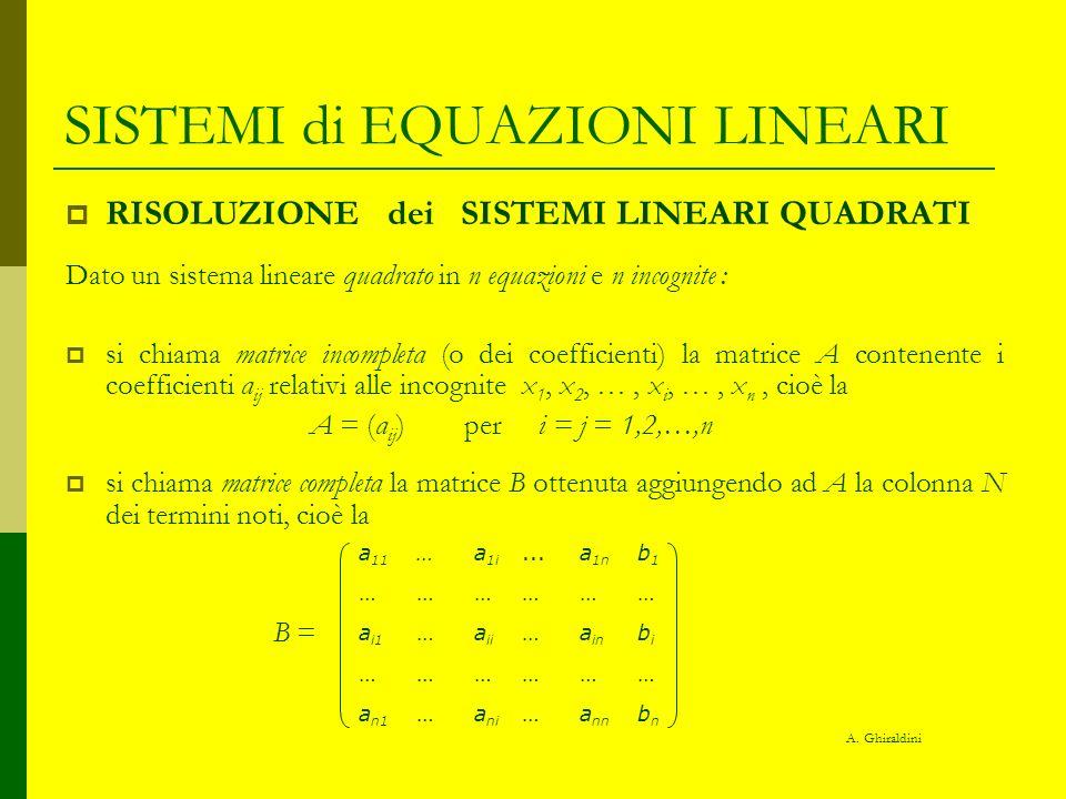 SISTEMI di EQUAZIONI LINEARI RISOLUZIONE dei SISTEMI LINEARI QUADRATI TEOREMA di CRAMER Condizione necessaria e sufficiente affinchè un sistema lineare quadrato abbia una ed una sola soluzione è che il determinante della matrice incompleta A sia non nullo.