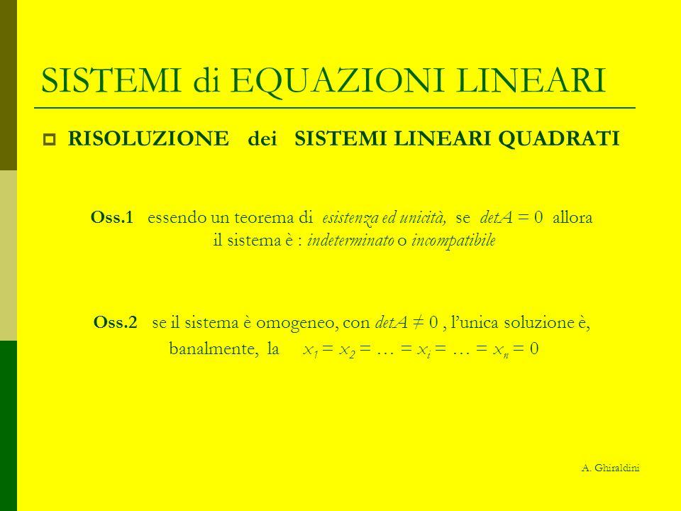 SISTEMI di EQUAZIONI LINEARI esempio 3x + y – 2z = -2 x - 2y + 5z = -1 con D = = -42 2x + 3y – z = 11 D x = = 42 D y = =-210 D z = =-84 x = D x /D y = D y /D z = D z /D x=42/(-42)=-1 y=(-210)/(-42)=5 z=(-84)/(-42)=2 3 1-2 1 5 2 3 -2 1 -2 5 11 3 3 -2 1 5 2 11 3 1 -2 1 2 3 11