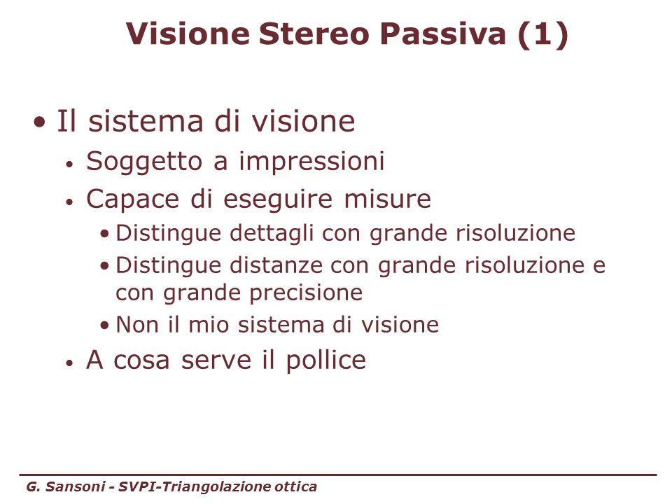 G. Sansoni - SVPI-Triangolazione ottica Visione Stereo Passiva (1) Il sistema di visione Soggetto a impressioni Capace di eseguire misure Distingue de
