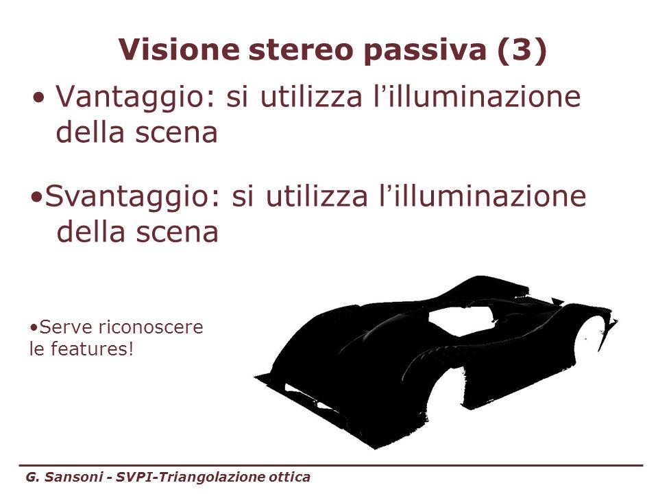 G. Sansoni - SVPI-Triangolazione ottica Visione stereo passiva (3) Vantaggio: si utilizza l illuminazione della scena Svantaggio: si utilizza l illumi